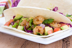 Two delicious shrimp tacos Royalty Free Stock Photos