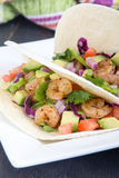 Two delicious shrimp tacos Stock Images