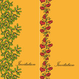 Two design card with mistletoe and physalis Stock Photos