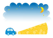 Two design elements, sky and car at night Royalty Free Stock Images