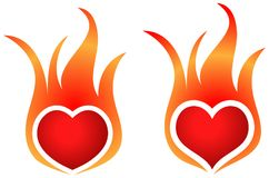 Fire flame heart shape logos. Two design fire flame heart shape logos on white background Stock Photo