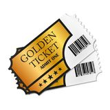 Two designed retro Golden Tickets close up top view isolated on white background. Vector illustration. Stock Photos
