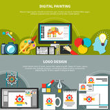 Two Designer Tools Composition Set. Two horizontal designer tools composition set with digital painting and logo design headlines vector illustration Stock Photos
