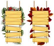 Two designs of wooden signs with leaves. Illustration Royalty Free Stock Photos