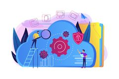 Cloud storage concept vector illustration. Two developers looking at the gears on the cloud. Digital data storage, database securiry, data protection, cloud Stock Images