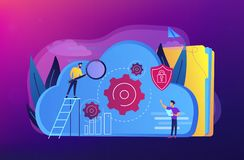 Cloud storage concept vector illustration. Two developers looking at the gears on the cloud. Digital data storage, database securiry, data protection, cloud royalty free illustration