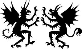 Two devil silhouettes. Illustration with two devil silhouettes isolated on white background Stock Photo