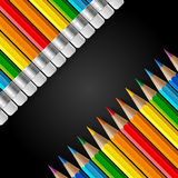 Two diagonal rows of rainbow colored pencils with Stock Photos