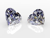 Two diamond hearts Royalty Free Stock Images