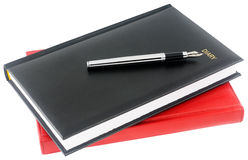 Two Diaries And Silver Pen Stock Photo