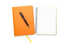 Two diaries with ball pen, bookmark Stock Photo