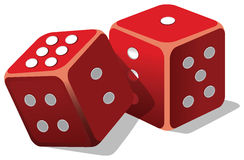 Two dice. Two  dice with cost based words Royalty Free Stock Images