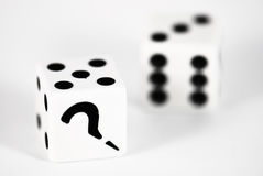 Two dice. With question mark Royalty Free Stock Photography
