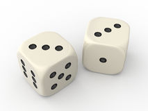 Two Dice. Cubes showing Three Points each Royalty Free Stock Photos