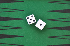 Two dice on a green gaming table. Stock Photos