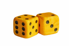 Two dice isolated on white background. Lie next to each other Royalty Free Stock Photography