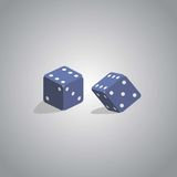 Two dice. On a light gray background Stock Photos