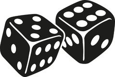 Two dice with number five and six. Vector Stock Photo