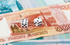 Two dice over russian money Stock Photography