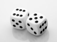 Two dice. Over white Stock Photos