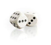 Two dice with reflection. On a white background stock images