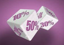 Two dice rolling. Percentage savings on each face. Discount, deal, black friday, sale, special prices!. Percentage savings on dice side. Rolling dice to stock illustration