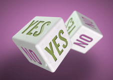 Two dice rolling. Yes no on faces of dice. Concept for making a decision. Stock Image