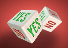 Two dice rolling. Yes no on faces of dice. Concept for making a decision. Stock Photo