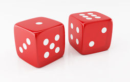 Two dices. 3d rendered image of two red dices Royalty Free Stock Images