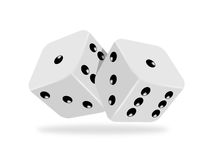 Two dices. Two casino dices on white background, 3D Royalty Free Stock Photo