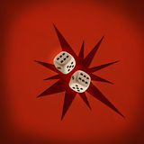 Two dices. On a red background Stock Photo