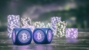 Bet and cryptocurrency. Two dices with bitcoin symbol and stacks of chips on background, concept of betting with cryptocurrencies 3d render Royalty Free Stock Photos