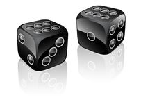 Two dices black Stock Images