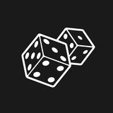Two dices  on black background. Dice game logo. Casino games line style vector icon Stock Image