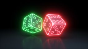 Two Dices of the Casino With Glowing Neon Lights Isolated On The Black Background - 3D Illustration vector illustration
