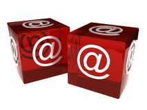 Two dices with e-mail sign over white. 3d render Stock Photo