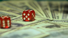 Two dices falling on big sum of dollars, winning combination, slow-motion. Stock footage stock video
