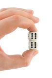 Two dices in hand stock images