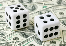Two dices on money background Stock Image