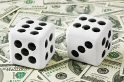 Two dices on money background Royalty Free Stock Image