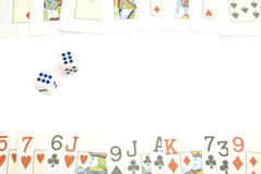 Two dices and playing cards Stock Image