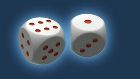 Two dices repeatly rotating stock video footage