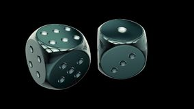 Two dices repeatly rotating stock footage