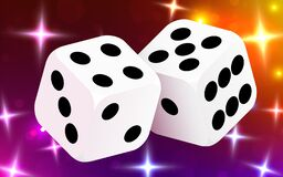 Free Two Dices, Surrounded By A Luminous Frame. Luck Banner. Casino Concept. Stock Images - 172293214