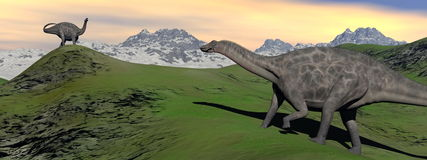 Two dicraeosaurus dinosaur Royalty Free Stock Photos