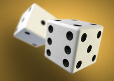 Two die (dice) captured rolling in mid air. Throwing dice in cas Stock Photography