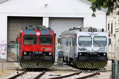 Diesel locos outside Pula railway station, Croatia. Two diesel locomotives standing on track outside a building at Pula railway station in Pula, Istria, Croatia royalty free stock photos