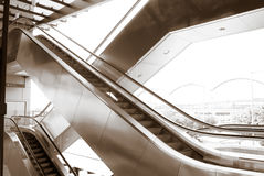 Two difference ways escalators in modern building Stock Photo