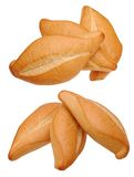 Two different angle view of three breads Royalty Free Stock Images