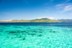 Two Different Color of Clear Turquoise and Blue Sea at Taka Makassar Island. In Komodo National Park, Indonesia stock images
